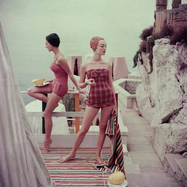 Two People Photograph - Models Wearing Bathing Suits In Palermo by Henry Clarke