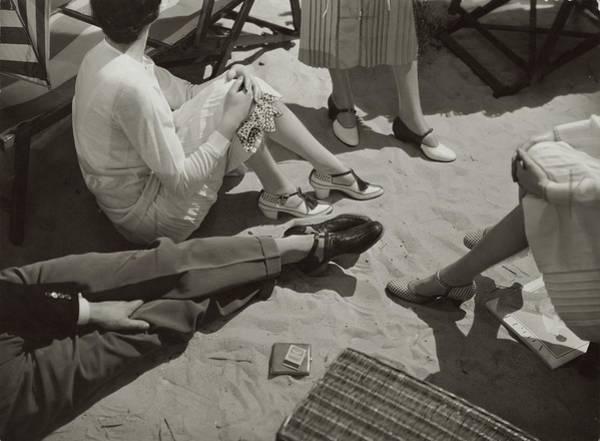 Four People Photograph - Models Wearing Beach Sandals by Edward Steichen