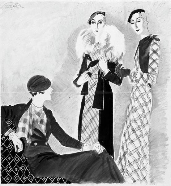 Vogue Digital Art - Models Wearing Bergdorf Goodman And Best by R.S. Grafstrom