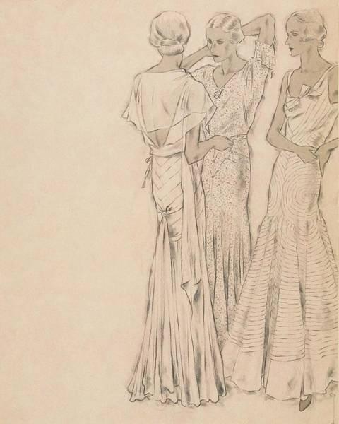 Evening Gown Digital Art - Models Wearing Chanel Evening Gowns by Helen Dryden