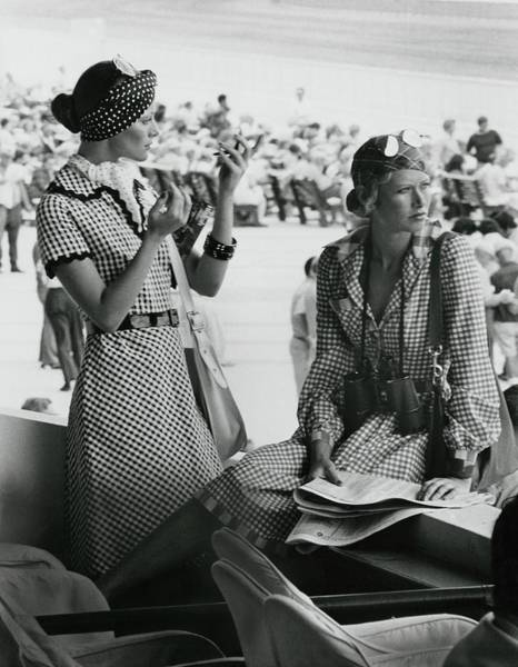 Race Horse Photograph - Models Wearing Checked Shirtdresses At Hialeah by Kourken Pakchanian
