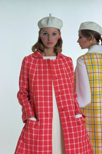 Yellow Background Photograph - Models Wearing Checked Ungaro Parallele Coats by William Connors