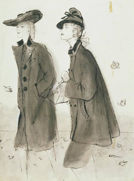 Vogue Digital Art - Models Wearing Coats And Hats by Rene R. Bouche