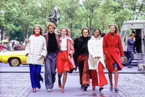 People Walking Photograph - Models Wearing Coats by William Connors