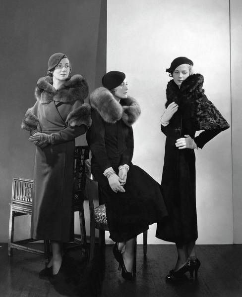 Lanvin Photograph - Models Wearing Coats With Fur Collars by Edward Steichen