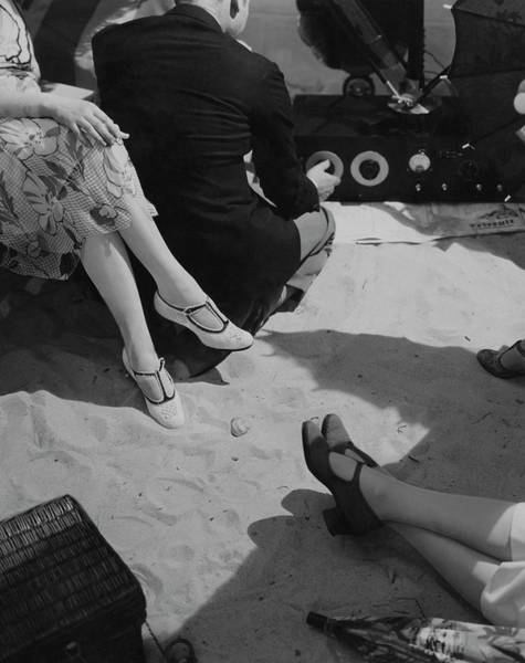 Shoe Photograph - Models Wearing Crocheted Shoes by Edward Steichen