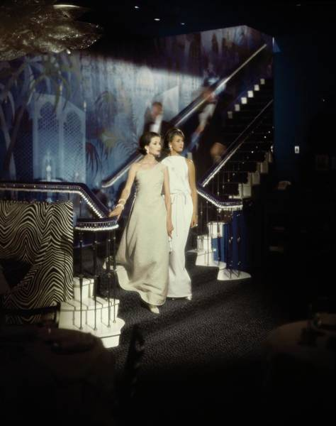 Manhattan Photograph - Models Wearing Evening Gowns On A Staircase by John Rawlings