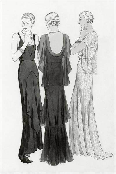 White Background Digital Art - Models Wearing Evening Gowns by Polly Tigue Francis