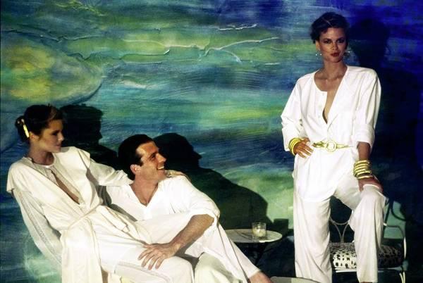 Christie Brinkley Photograph - Models Wearing Fernando Sanchez Sleepwear by Arthur Elgort