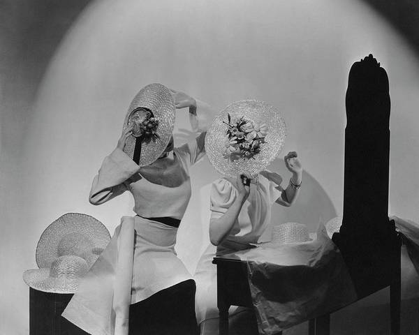 Mirror Photograph - Models Wearing Hats by Cecil Beaton
