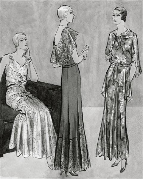 Vogue Digital Art - Models Wearing Long Dresses by Creelman
