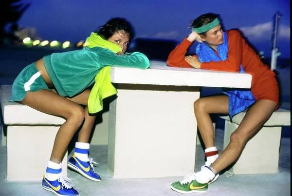 Christie Brinkley Photograph - Models Wearing Nike Sneakers by Arthur Elgort