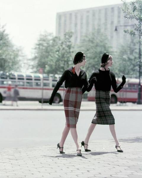 Footpath Photograph - Models Wearing Plaid Skirts by Sante Forlano