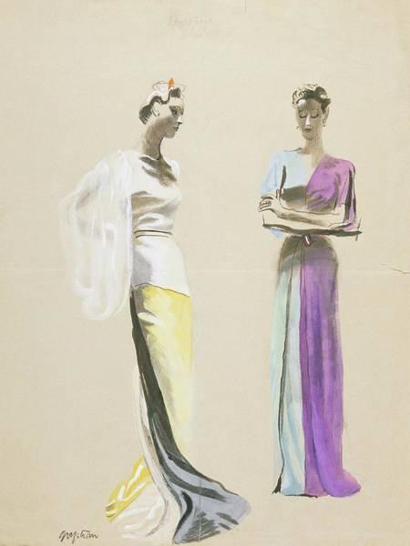 Satin Digital Art - Models Wearing Satin Evening Gowns by R.S. Grafstrom