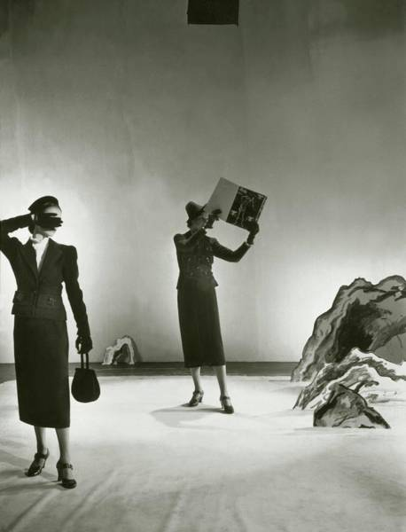 Photograph - Models Wearing Schiaparelli Suits by Cecil Beaton