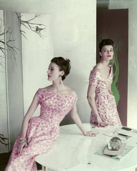 Dining Table Photograph - Models Wearing Silk Surah Dresses by Frances McLaughlin-Gill