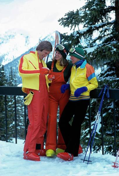 Knit Hat Photograph - Models Wearing Ski Clothes by William Connors