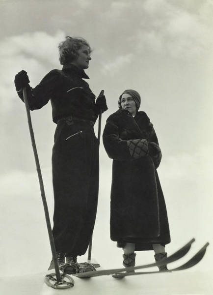 Sports Photograph - Models Wearing Skiing Ensembles by George Hoyningen-Huene