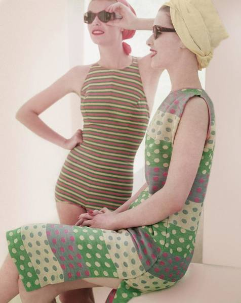 Two People Photograph - Models Wearing Swimwear And Dress by Horst P. Horst