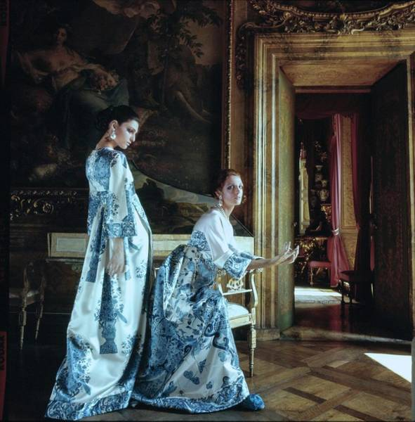 Blue Gown Photograph - Models Wearing Valentino In Palazzo Borghese by Henry Clarke