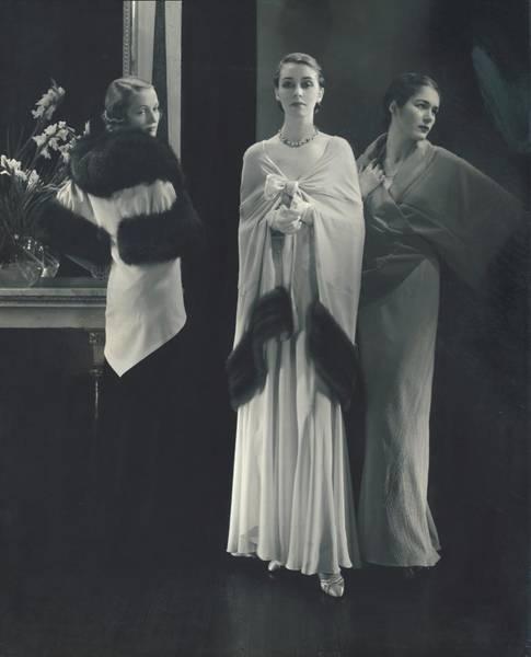 Lanvin Photograph - Models Wearing Various Dresses by Edward Steichen