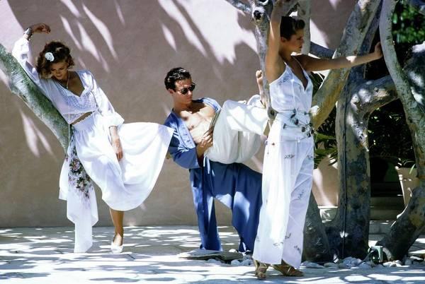 Christie Brinkley Photograph - Models Wearing White Ensembles by Arthur Elgort
