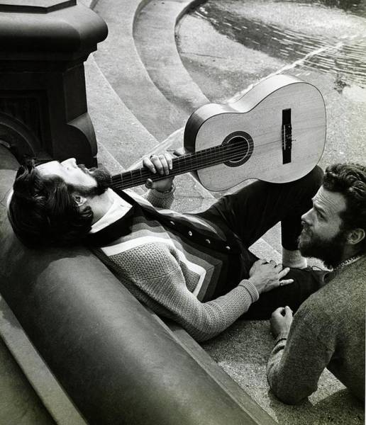 Acoustic Guitar Photograph - Models With A Guitar On A Staircase by Emma Gene Hall