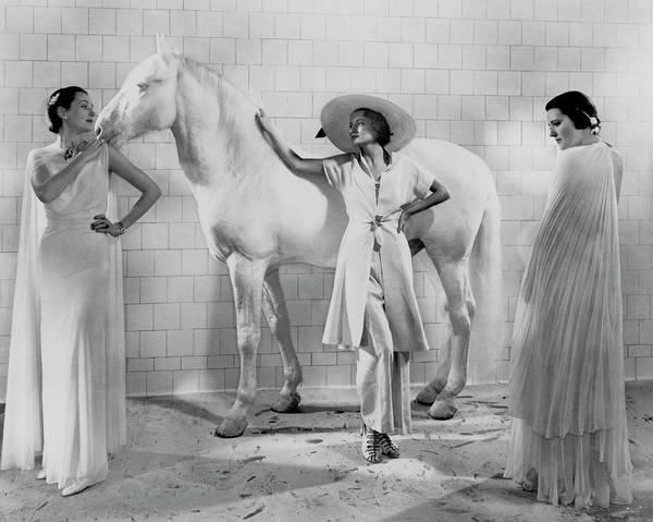 January 1st Photograph - Models With A Horse by Edward Steichen