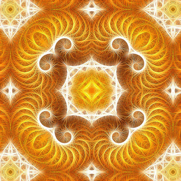 Digital Art - Modern Abstract Art Gold Yellow White Square Format by Matthias Hauser