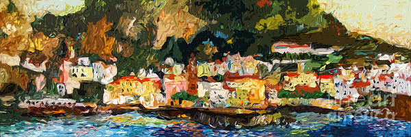 Painting - Modern Amalfi Panoramic Cityscape by Ginette Callaway