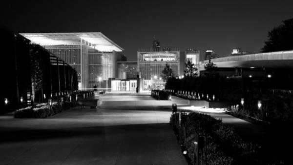 Modern Architecture Night Black White Art Print