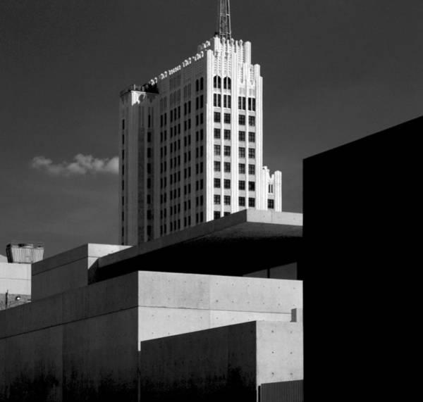 Modern Art Deco Architecture Black White Art Print