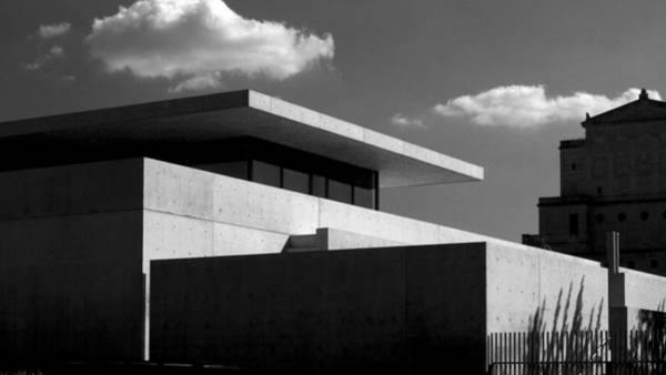 Modern Concrete Architecture Clouds Black White Art Print