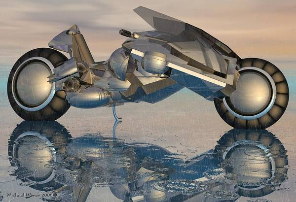 Speed Boat Digital Art - Modern Cycle by Michael Wimer