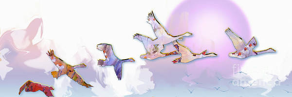 Painting - Modern Decorative Geese In Flight by Ginette Callaway