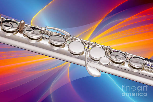 Photograph - Modern Flute Music Instrument Photograph In Color  3404.02 by M K Miller
