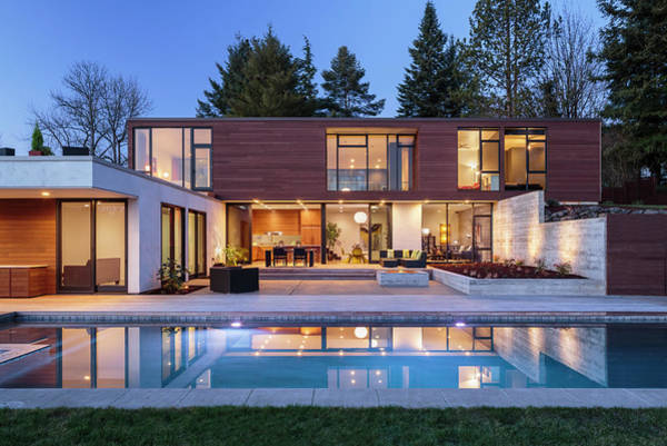 Patio Photograph - Modern Home Exterior Taken At Twilight by David Papazian