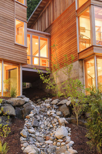 Abode Photograph - Modern House And Rocky Creek by Will Austin