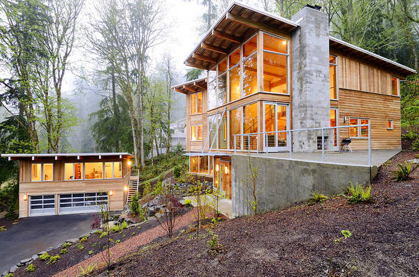 Abode Photograph - Modern House In Woods by Will Austin
