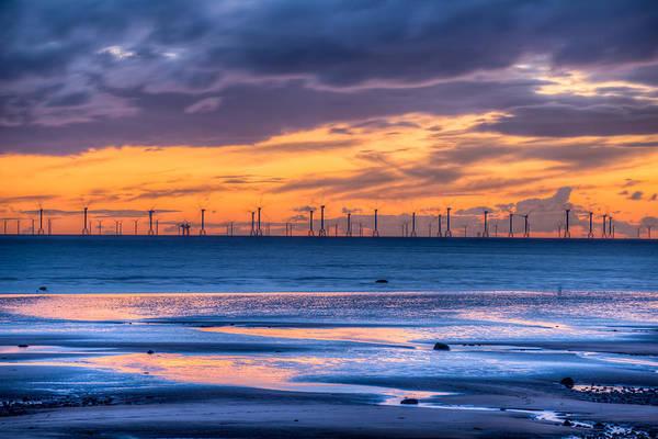 Photograph - Modern Ocean Windmills At Sunset Lowtide by Dennis Dame