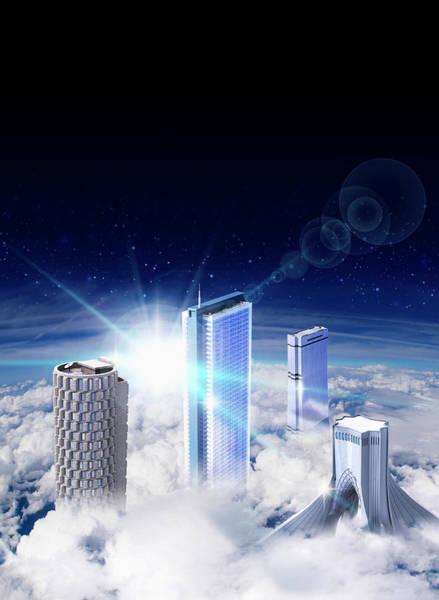 Phantasy Wall Art - Photograph - Modern Skyscrapers Rising Above Clouds by Ikon Ikon Images