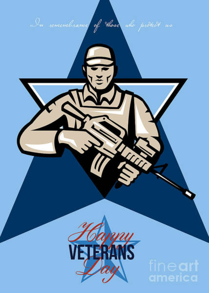 Assault Weapons Digital Art - Modern Soldier Veterans Day Greeting Card Front by Aloysius Patrimonio