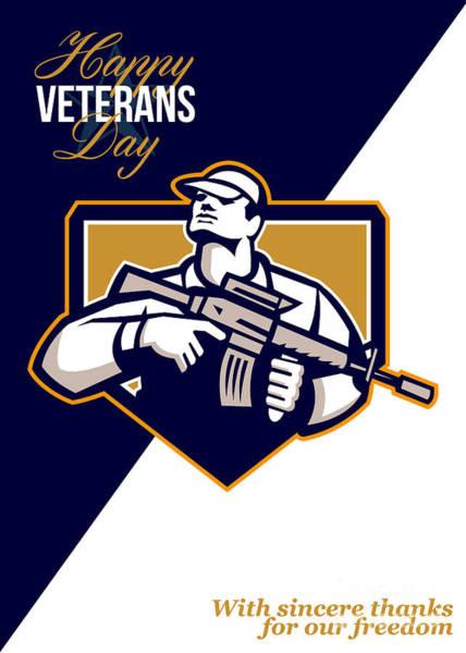 Assault Weapons Digital Art - Modern Soldier Veterans Day Greeting Card Retro by Aloysius Patrimonio