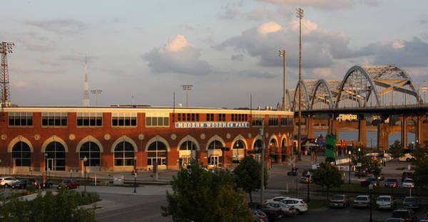 Centennial Bridge Photograph - Modern Woodmen Stadium And Centennial Bridge by Heidi Brandt