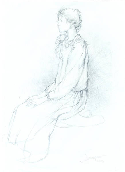 Hairdo Drawing - Modesty Sketch by Jovica Kostic