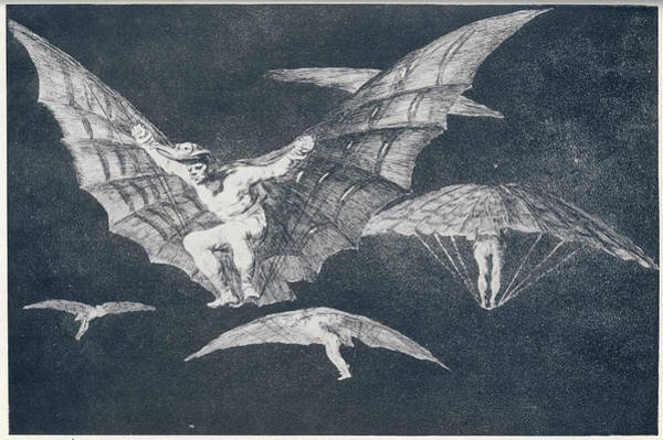 Birdman Wall Art - Drawing - 'modo De Volar' One Of Goya's Many by Mary Evans Picture Library