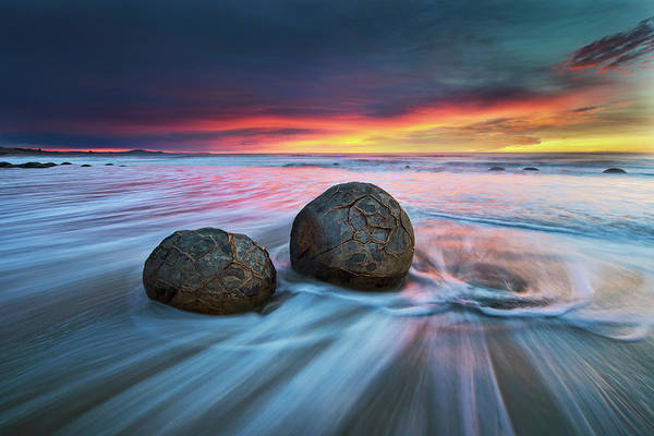 Waves Photograph - Moeraki Boulders by Yan Zhang
