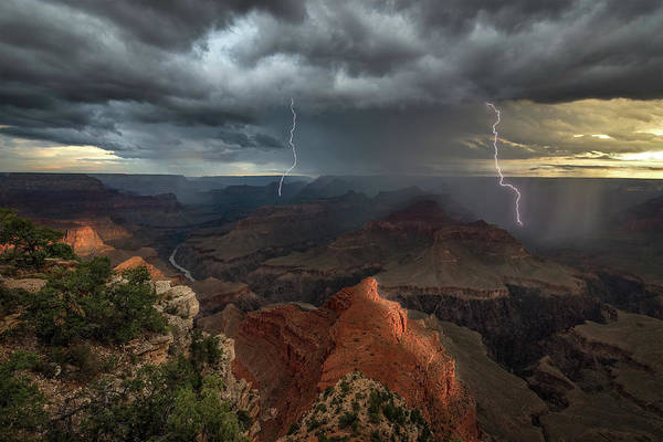 Cloudy Photograph - Mohave Point Thunderstorm by John W Dodson