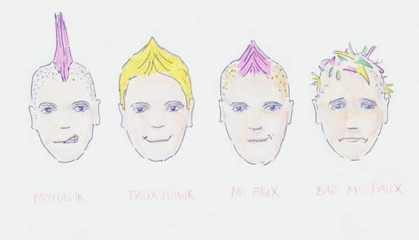 Drawing - Mohawk Faux Hawk Hairstyle Cartoon by Mike Jory