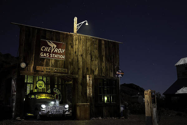 Photograph - Mojave Nights At The Chevron Gas Station by James Sage
